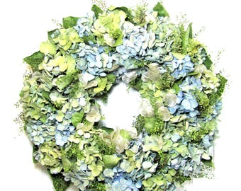 Dried Floral Wreath with Hydrangea, Wall Decor, Hydrangea Wreath