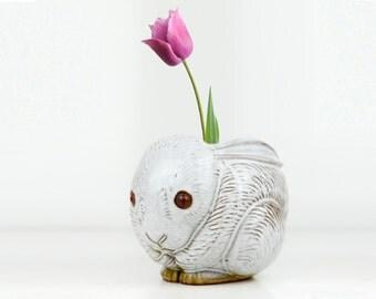 rabbit, planter, novelty planter, mid century, bunny, organizer, ceramic, figurine, vintage office, office organizer, candy dish,