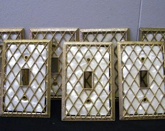 Lot of 7  Vintage Hollywood Regency Diamond Lattice Open Cut Switch Plate Covers