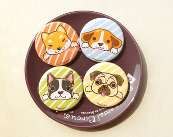 Cute Dogs Pinback Buttons, Animal Pins, Animal Badge, Animal buttons, Animal Brooches, Dog Brooches, Pet Brooches, Pug Pin, Beagle Pin, Gift