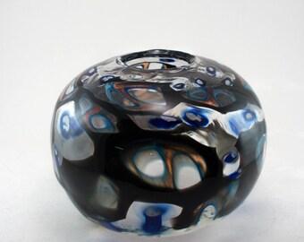 Black and Blue Murrine Vase (Medium-Large)