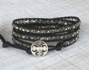 Black Leather Wrap Bracelet Chic Silver and Black Free Shipping Bohemian Jewelry