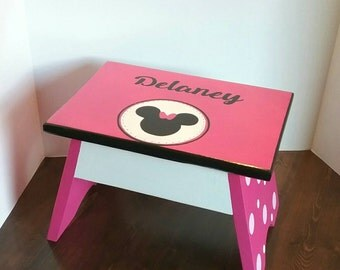 Hot Pink Footstool - Character Step Stool Toddler Step Stool - Silhouette - Kids Step Stool - Bathroom Step Stool - DREAMATHEME