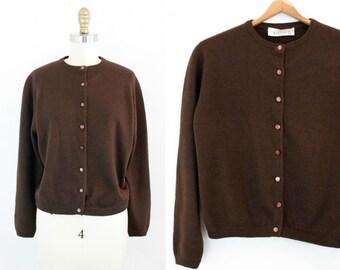 Vintage 1960s cardigan . The Last Chocolate .  50s / 60s brown wool cardigan sweater by Jantzen . LG / XL