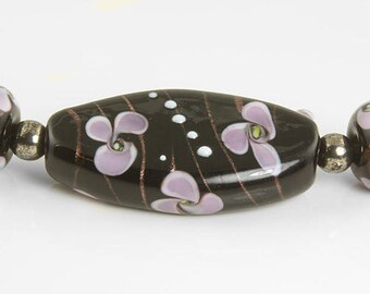 Black Lavender Floral Focal Lampwork Bead Set