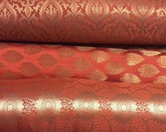 Bundle/Stack of burnt orange/Amber orange Indian brocade set of three fat quarters/perfect for crafting/sewing