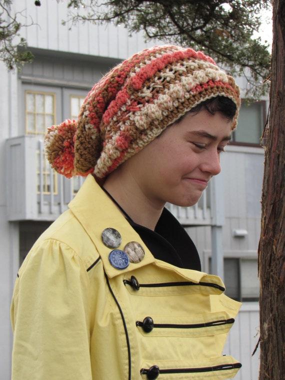 Crochet Slouchy Hat - Cheesecake Pop with Pom Pom