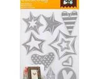 Cricut Cuttlebug Cut & Emboss Die Set - STARS and HEARTS