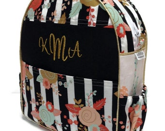 Personalized Toddler Backpack, Preschool Backpack, Black White Stripe Backpack, Feather Backpack, Metallic Gold Backpack, Quilted Backpack