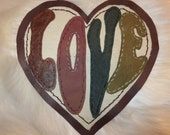 Leather and Canvas Heart Shaped Love Patch Hand Stitched Iron on or Sew on Large Patch
