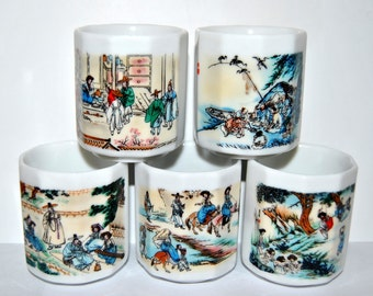 SALE Asian Cups, Porcelain Shot Cup, People, Scenery, Japan Korea Old Historic Life Drink Wares