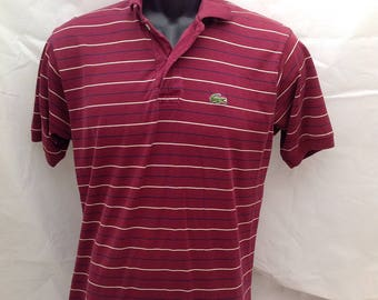 Mens Vintage Izod Lacoste Burgundy with Stripes Polo Shirt L 1980s 80s