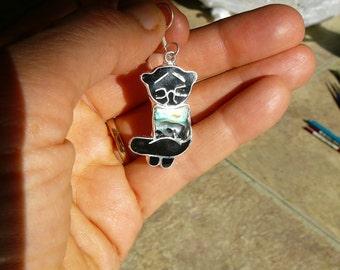 Black cat earrings hand made silver paua shell
