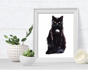 Cat Portrait, Cat Art Print, pet portrait, black cat, cat art print, kitten, A4 or A5, ideal for cat lovers
