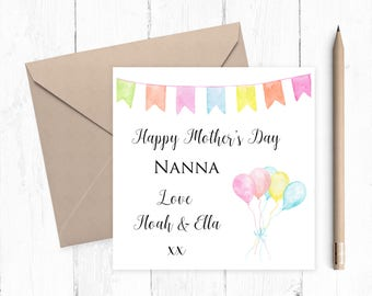 Personalised Mother's Day Card for Nanna - Mother's Day Card - step mum - mom - nanna's card - nanna - grandma - nonna - great grandma