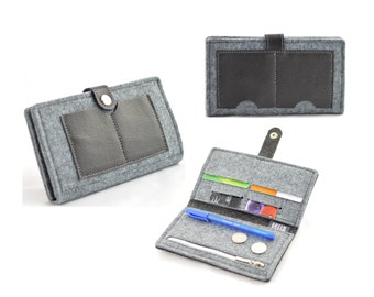 Felt and leather Wallet, Grey and black leather, modern, Minimalist