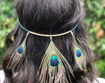 Beaded Peacock Headband - Hippie Festival Peacock Feather Headdress Hairpiece - Feather Headband with Beads