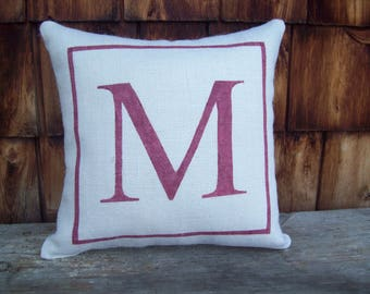 Initial Pillow, Decorative Burlap Pillow, Custom Monogram Pillow, Letter Pillow, More Colors and Sizes Available, Initial Decor, Gift Pillow