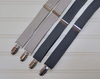 Boys linen bow tie and suspenders, Grey linen suspenders, many colors, Rustic Wedding ring bearer, Baptism