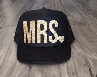 Mrs. Trucker Hat Bride Hat Bridal Gift Wedding Gift Women's Trucker Hat Bachelorette Party Wedding
