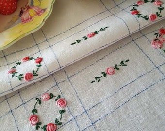 Vintage Tray Cloth, Vintage Tea Cloth, Vintage Tea Time, Country Cottage Style, English Rose Garden Style