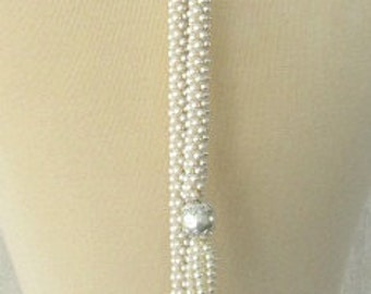 vintage 60s pearl long lariat tassel necklace hand made crocheted