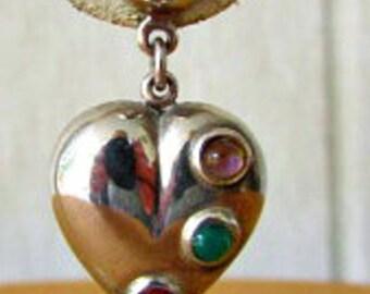 vintage 80s sterling puff heart dangle earrings  pierced with gemstones emerald garnet amethyst 925 sterling