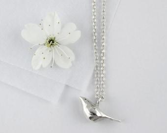 Bird necklace I Silver bird necklace I Bird & initial tag