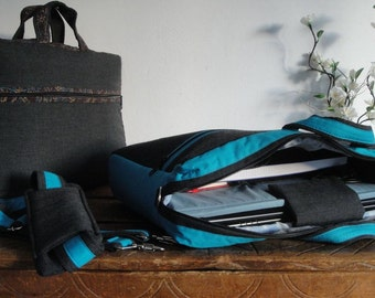 """Discount 30% READY to SHIP 13""""Briefcase Laptop Bag & 17''Messenger Laptop bag - Laptop COMPARTMENT / Pockets-FullyPADDED-Waterproof lining"""