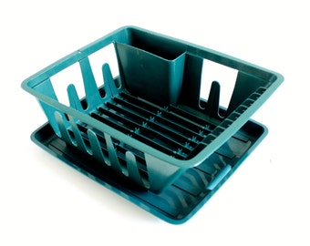 Small Plastic Dish Rack with Drainer Tray 440 441, Hunter Green 1990s for RV, Boat, Studio Apartment