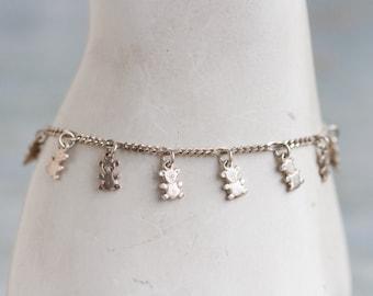 Charm Bracelet in Sterling Silver - Tiny teddy Bears in Figaro Chain - Made in Italy - Italian Silver Jewekry