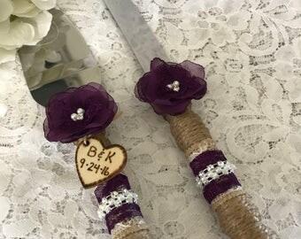 Wedding cake knife set, Rustic cake knife set, Burlap cake knife & server set,Plum purple cake knife set,Wedding Accessory,YOUR CHOICE COLOR