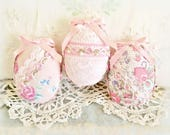 Easter Egg Ornaments Set of  3 with Lace & Pearls Spring Easter Ornament Gift Ornies Bowl Filler Party Decorations Home Decor CharlotteStyle