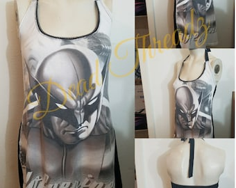 Recycled upcycled Halter top dress Made from  licensed Wolverine mens shirt Size Medium one of a kind