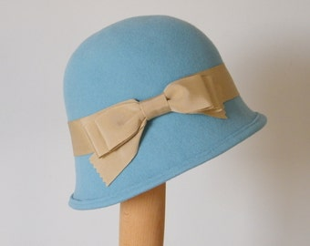 light blue felt cloche hat /  blue wool hat / Downton Abbey winter hat / 20's style ladies hat  Rana Hats Israel