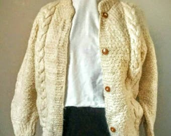 Vintage Hand Made Cable Knit Wool Cardigan