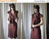 50%WINTERSALE 70s does 30s black dusty red floral pencil skirt & wrap over blouse set S