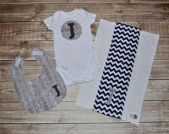 Baby Initial Onesie Bib & Burp Cloth Gift Set - Pick your Custom Set! - Personalized Baby Onesie Baby Boy Bib Baby Shower Gift