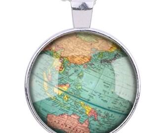 "2pcs-1.5"" World Map glass dome round cab pendant-antique silver tone"