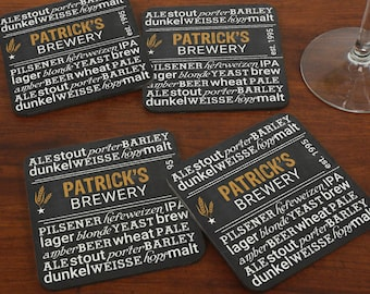 My Brewery Personalized Coasters Set of 4, craft beer, for dad, him, beer gifts, brewery, custom  -gfy699239CS