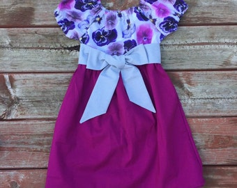 Girls Spring Berry Pink Floral Easter Dress Short Sleeve Sash 3 6 12 18 24 2t 3t 4t 5 6 7 8 9 10 Sister Sibling Matching Girls Dress Pansy