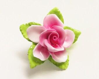 Vintage Pink Porcelain Rose Flower Brooch Thorley Bone China