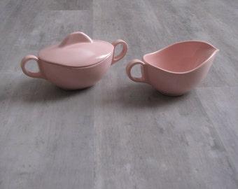 Vintage Pastel Pink Melmac Dishes - Creamer and Sugar Bowl