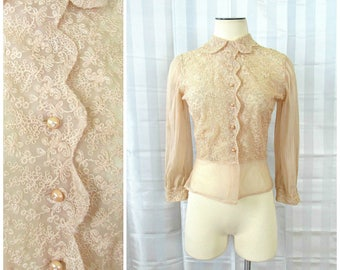 Vintage 1940s 1950s Blouse Semi Sheer Beige Shirt 36 Floral Embroidery Crystal Pleating Old Hollywood Glamour Soutache Flowers