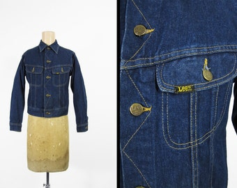 Vintage Lee Denim Jacket Two Pocket Dark Indigo Blue Lee Riders Made in USA - XS / Small