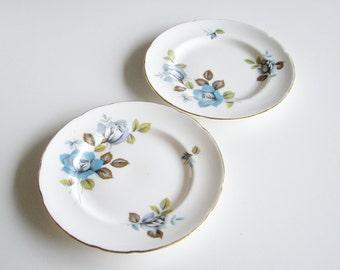 Vintage, Fine Bone China, Side Plates, Paragon, Blue Mist, Blue Rose, Grey Rose, Gold Trim, Bread and Butter, Small Plates, Dessert Plates