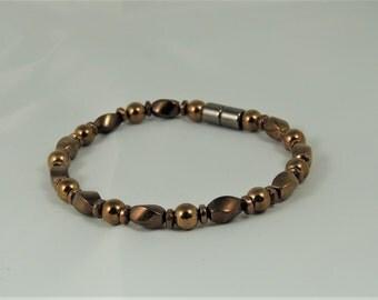 All Bronze Single Magnetic Hematite Bracelet