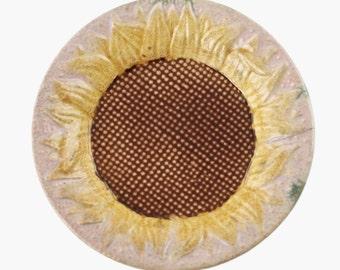 Antique Griffen Smith and Hill Etruscan Majolica Sunflower Sauce Dish Syrup Underplate