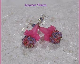 Pink and Purple Floral Dangle Earrings,Lampwork and Lucite Earrings,Colorful Earrings,Spring Summer Earrings,Party Earrings - SUMMER BREEZE