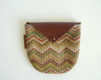 Pouch- Medium chevron raffia pouch - organizer -coin purse -  gift for him - gift for her